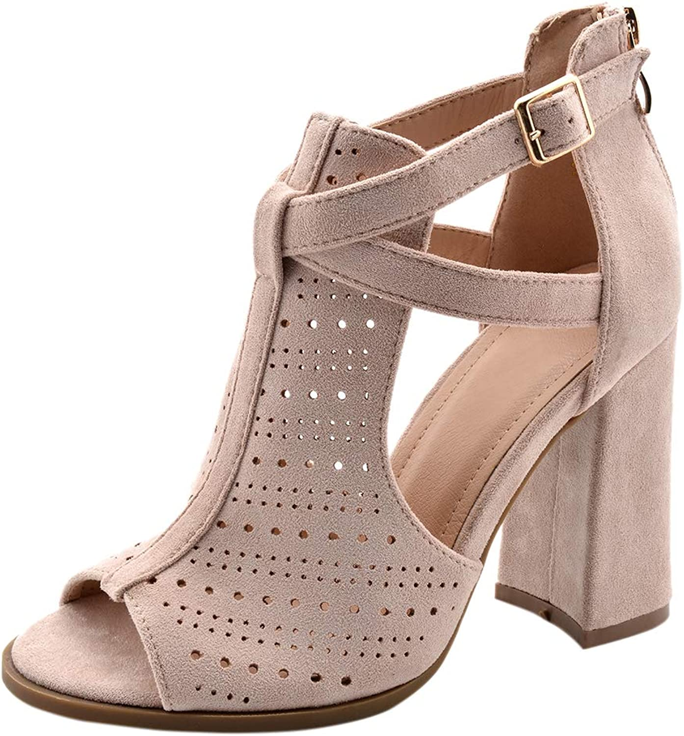BIGTREE Womens Peep-Toe Chunky-Heeled Cut-Out Ankle-Booties with Buckle-Strap