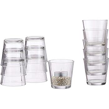 Relaxdays Pack de 12 Vasos Vela, para Velas de Té o Postres, Set Portavelas, Decorativo, Cristal, 7,5 cm Ø, Transparente: Amazon.es: Hogar