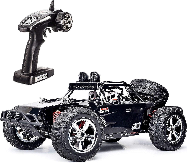RQINW 1 12 RC Hochgeschwindigkeits Rennauto mit Fernbedienung, 4WD Gelndefahrzeug, 2,4 GHz, Kletterspielzeug, wiederaufladbar,(Schwarz)