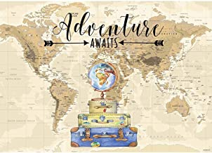 Allenjoy 7x5ft Oh The Places You'll Go Adventure Awaits Photography Backdrop Little Traveler 1st First Birthday Baby Shower Bridal Shower Engagment Party Decor Cake Table Background Photo Studio Prop
