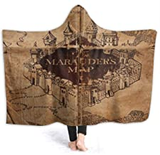 Soft Hoodie Throw Wrap Cover for Bed Couch Sofa, King Size Throw Wearable Blankets Super Warm Sherpa Flannel Office Blanket (I Like Exercise Marauders Map Blankets, 60x80 inch)