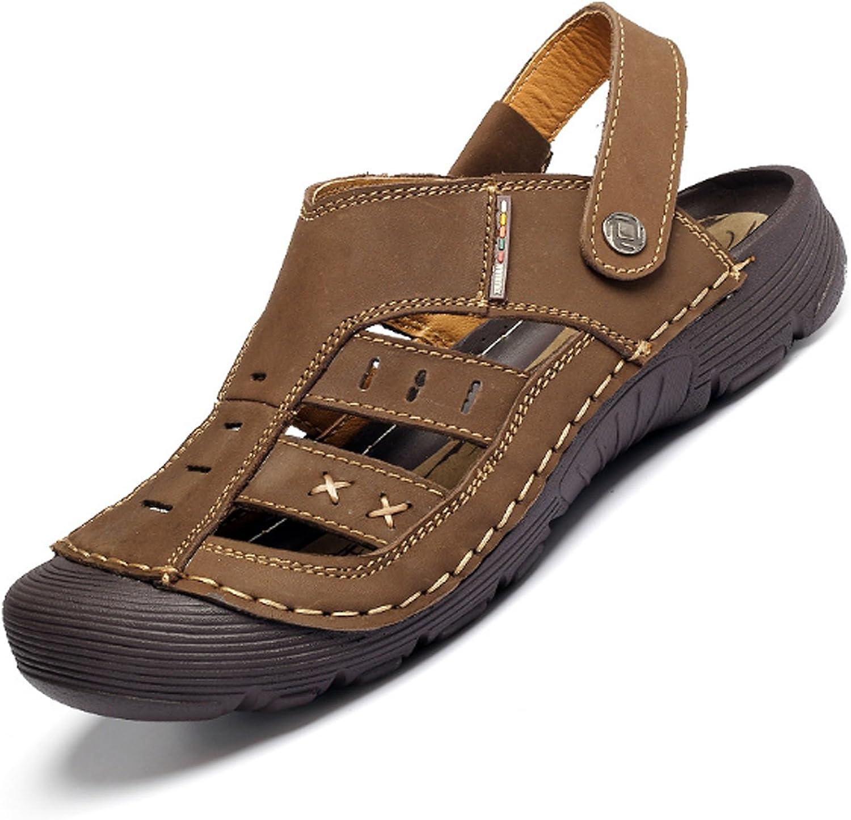 Huaishu Men's shoes Summer Leather Beach shoes Outdoor Non-slip Casual shoes Sandals Boys Beach Surf Flip Flops
