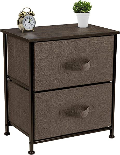 Sorbus Nightstand With 2 Drawers Bedside Furniture Accent End Table Chest For Home Bedroom Accessories Office College Dorm Steel Frame Wood Top Easy Pull Fabric Bins Brown