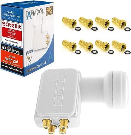 Anadol Gold Line LNB (bloque convertidor de bajo nivel de ruido) 0.1 dB incluye conectores F dorados