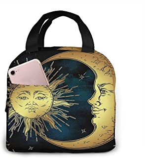 Lunch Bags For Men Women, Sacred Moon And Sun In Antique Style Lunar Myth Astrology Zen Art Print Insulated Durable Lunch Box Tote Bag Cooler Bag For Work School Picnic Travel Beach