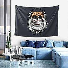 YRNAVEI Funny Bulldog Wearing Headphones Listening to Music Living Room Bedroom Hall Sofa DecorationWall Hanging Tapestry ...