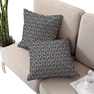 Victorian Square Chaise Lounge Cushion Cover,Antique Ancient Design with Botanic Plant Details Swirls and Flowers Print Black and White W16 xL16 2pcs Cushion Cases Pillowcases for Sofa Bedroom Car