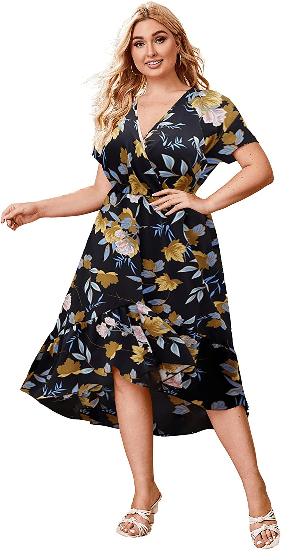 Milumia Women Plus Size Floral Boho Surplice V Neck High Low Ruffle Hem Maxi Dress