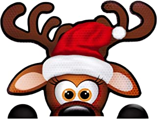 "Bigtime Signs Fun Jumbo Reflective Magnetic Peek-A-Boo Reindeer Christmas Car Decorations Kit | Funny Santa's Helper Face + 2 Hooves | Reindeer Holiday Automotive Magnet (6.5"" x 8.5"" Peek-A-Boo)"