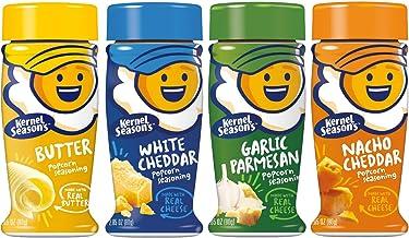 Kernel Season's Popcorn Seasoning 4 Flavor Variety Bundle: (1) Kernel Season's White Cheddar Popcorn Seasoning, (1) Kernel Season's Nacho Cheddar Popcorn Seasoning, (1) Kernel Season's Garlic Parmesan Popcorn Seasoning, and (1) Kernal Season's Butter Popc