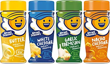 Kernel Season's Popcorn Seasoning 4 Flavor Variety Bundle: (1) Kernel Season's White Cheddar Popcorn Seasoning, (1) Kernel Season's Nacho Cheddar Popcorn Seasoning, (1) Kernel Season's Garlic Parmesan Popcorn Seasoning, and (1) Kernal Season's Butter Popcorn Seasoning, 2.85 Oz. Each