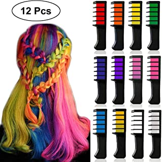 12 Colors Temporary Bright Hair Color Chalk Set for Girls Kids, Kalolary Washable Hair Color Comb, Safe for Kids and Teen, Birthday Party Cosplay Gift for Girls Kids Teen Adult