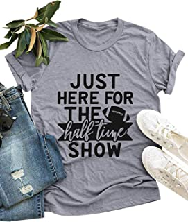 ZJP Women Crew Neck JUST HERE for The Ball Time Show Letter Printed Top T-Shirts