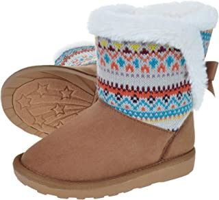 HOMEHOT Girls Warm Boots Winter Snow Boot for Toddler/Little Girls Faux Fur Lining Non-Slip Outdoor Snow Shoes with Cute Bow