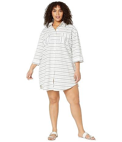 DOTTI Plus Size Radiance Stripe Shirtdress Cover-Up (Navy) Women