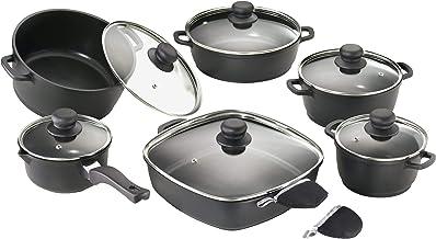 Karcher Pannenset (gegoten aluminium, 12-delig, Teflon Classic-antiaanbaklaag, incl. glazen deksel en 2 thermogrips) zwart