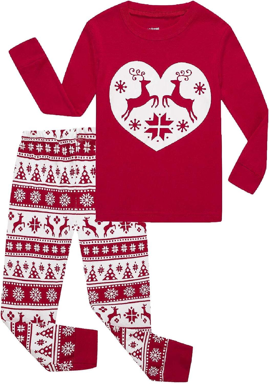 Girls Pajamas 100% Cotton Reindeer Toddler Clothes Kids Christmas Pjs Children Sleepwear