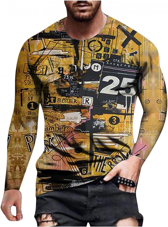Long Sleeve Tee Shirts for Men Hip Hop Graphic Crewneck Sweatshirt Slim-Fit Muscle Shirt Blouses Sport Pullover