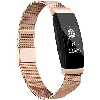 Intoval Bands Compatible with Fitbit Inspire 2 / Inspire HR / Inspire, Stainless Steel Replacement Bands for Men Women (Small, Rose Gold)