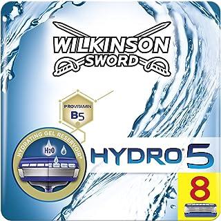 Wilkinson Sword FFP BOX Hydro 5 - Caja de 8 Recambios de Cuchillas de Afeitar de 5 Hojas para Hombres, Recambios Desechables de Afeitado Manual
