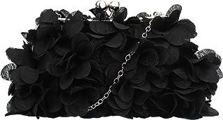MEGAUK Damen Elegante Handtasche Blumen Clutch Seide Abendtasche Henkeltasche Crossbody Bag mit Kette Kisslock Design