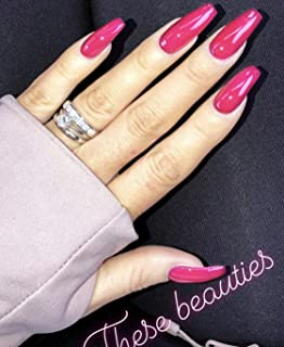 24 PCS 12 Sizes Ballerina Jelly Hot Pink Press On False Nails Glue On Nails with Glue and Adhesive Tab
