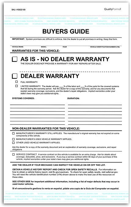 Amazon Com 2 Part Dealer Buyers Guide Form English Format As Is No Dealer Warranty Dealer Warranty 50 Office Products