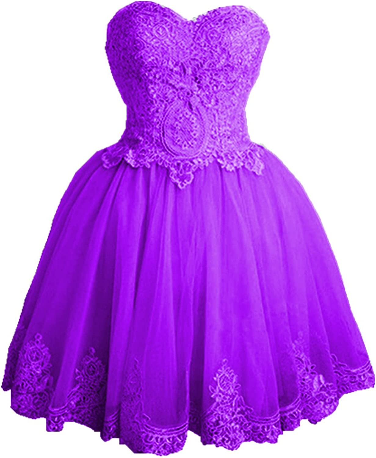 Libaosha Strapless Sweetheart Neck Lace Appliqued Homecoming Dresses Short Prom Dresses