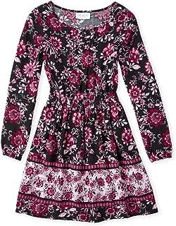 Girls' Big Floral Print Ruffle Pheasant Midi Dress