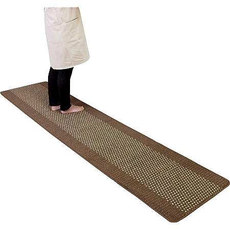 オカ (OKA) 優踏生 洗いやすいキッチンマット ブラウン 約60cm×270cm (洗える 台所マット ロング おしゃれ 日本製 ずれない すべり止め)