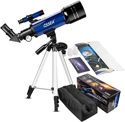 CSSEA Telescope for Kids and Adult Beginners, 70mm Astronomical Refractor Telescope with Adjustable Tripod & & Finder Scope- Portable Travel Telescope perfect Educational Gift for Children Teens