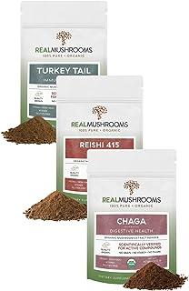 Real Mushrooms Ultimate Immune Defense Bundle - Chaga Mushroom (60g), Reishi Mushroom (45g), Turkey Tail Mushroom (45g) Bu...