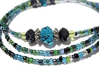 ATLanyards Peacock Decorative Beaded Eyeglass Holder Clip Grips, Clip Eyeglass Holder