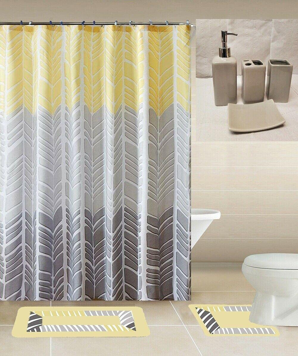 19PC Complete Bathroom Bath MATS SEAL limited product Curtain Printed Our shop most popular Cerami W Shower