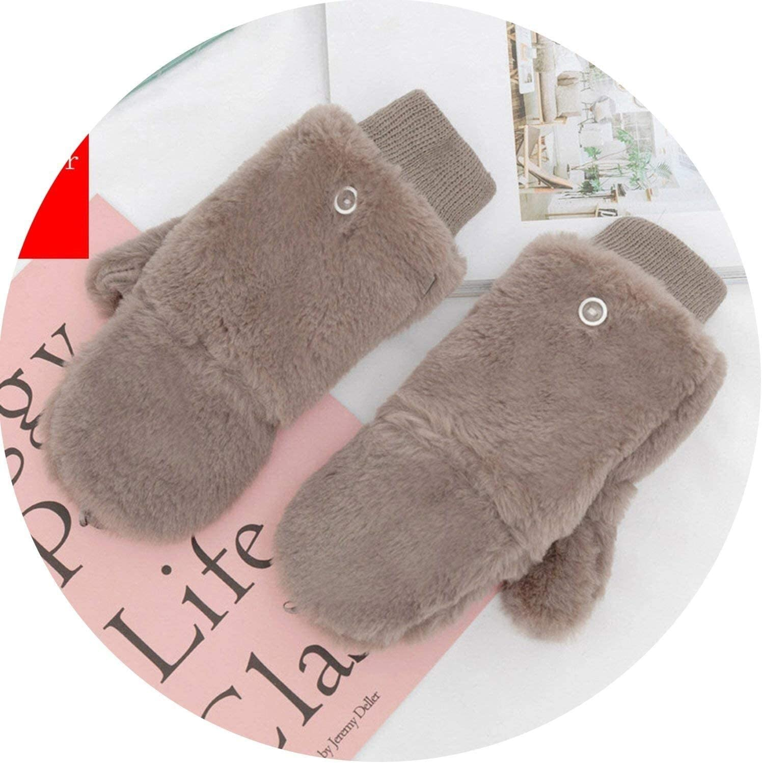 Samantha Warm Gloves Female Winter Plus Cashmere Plush Thick Warm Half Finger Touch Screen Flip Mittens Women Double Thick Knit Wool Gloves (Color : Grey, Size : Oneszie)