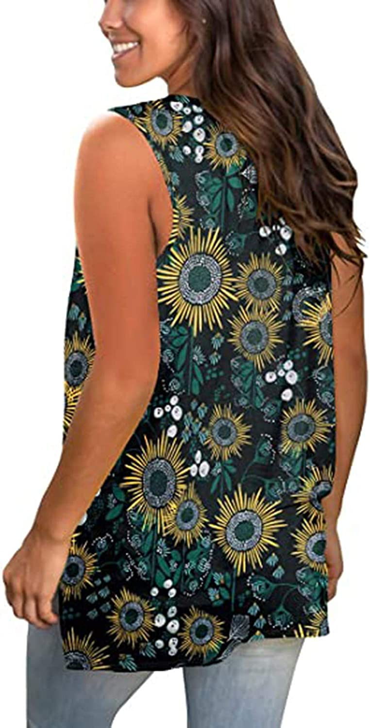 767 Plus Size Tank Tops for Women Summer Loose Vest Sleeveless T-Shirts V-Neck Tees Lovely Printed Blouse Essentials Tunic