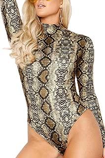 Womens Stretchy Ribbed Knit Turtleneck Long Sleeve Bodycon Bodysuit Leotard
