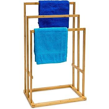 Relaxdays Porte-Serviettes pliant en Bambou HxlxP 73 x 74 x 36 cm s/échoir linge pliant support pliable en bois avec 8 barres de s/échage serviteur de chambre pour v/êtements serviettes de bain nature