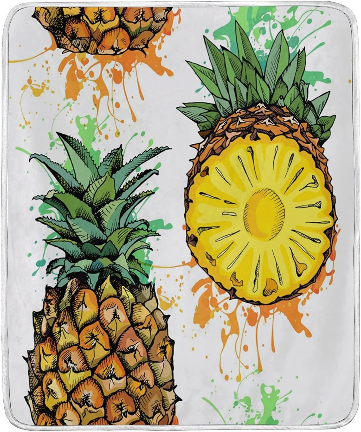 ALAZA Home Decor Watercolor Pineapple Fruit Blanket Soft Warm Blankets for Bed Couch Sofa Lightweight Travelling Camping 60 x 50 inch Throw Size for Kids Boys Women