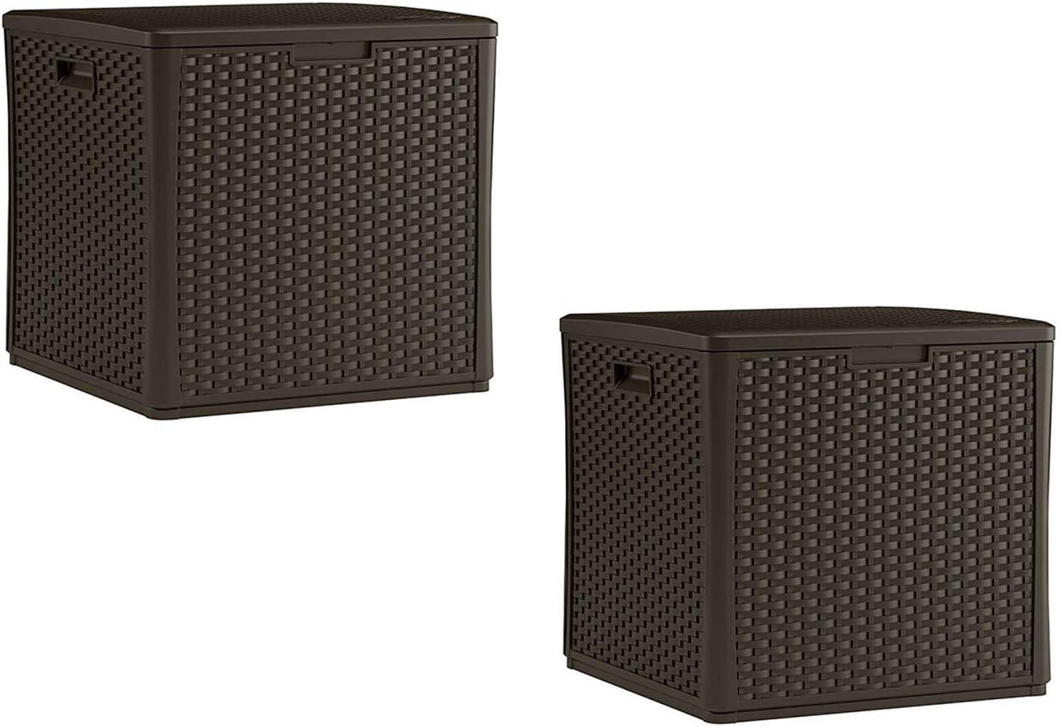 Suncast 60 Gallon Resin Wicker Design Cube Shape Storage Deck Bo