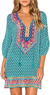 Women Bohemian Neck Tie Vintage Printed Ethnic Style...