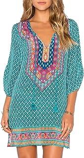 Women Bohemian Neck Tie Vintage Printed Ethnic Style Summer Shift Dress
