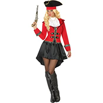 Atosa- Disfraz hombre capitán pirata, Color negro y rojo, M-L ...