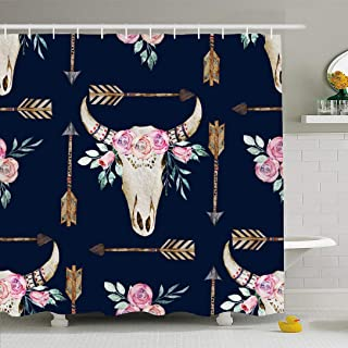 Ahawoso Shower Curtain Set with Hooks 60x72 Watercolor Traditional Tattoo Pattern Deer Mammals Antlers Print Abstract Design Cow Rose Textures Waterproof Polyester Fabric Bath Decor for Bathroom