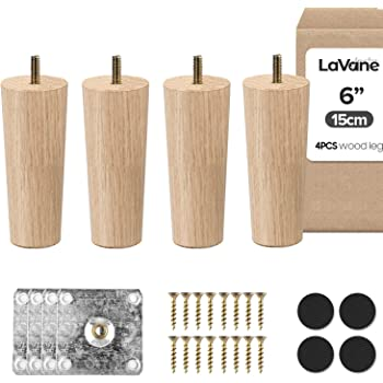 6 inch / 15cm Wooden Furniture Legs, La Vane Set of 4 Solid Wood Tapered M8 Replacement Furniture Feet with Pre-Drilled 5/16 Inch Bolt & Mounting Plate & Screws for Couch Sofa Cabinet Ottoman