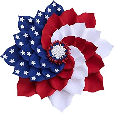 Patriotic Wreath for Front Door, Red White and Blue Poly Burlap Flag Daisy Decor, Artificial Flower for Spring Home Independe