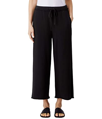 Eileen Fisher Organic Cotton French Terry Wide Leg Crop Pants (Black) Women