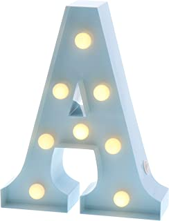 "Barnyard Designs Metal Marquee Letter A Light Up Wall Initial Nursery Letter, Home and Event Decoration 9"" (Baby Blue)"