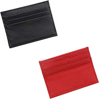 PROGARMENTS 2Pcs Slim Leather Credit Card Holder Wallet, Unisex Slim Credit Card Case with 6 Card Slots and 1 Change Pocke...