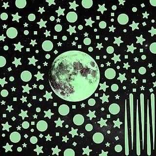GOLDGE 1101pcs Luminoso Pegatinas Pared Fluorescentes Decoración de la Habitación, Luna Estrellas Puntos Pegatinas de Pare...